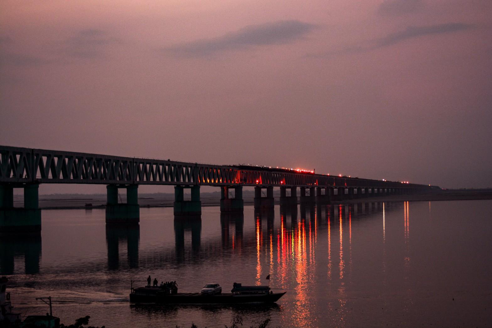 Bogibeel Bridge at sunset