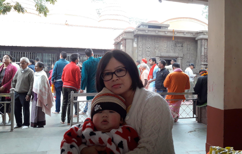 Pallabita Bora and her son Nevaan at the Kamakhya temple premises