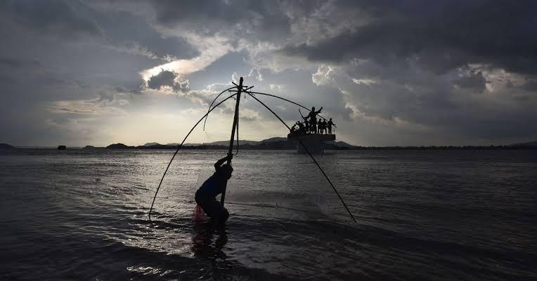 A fisherman in River Brahmaputra