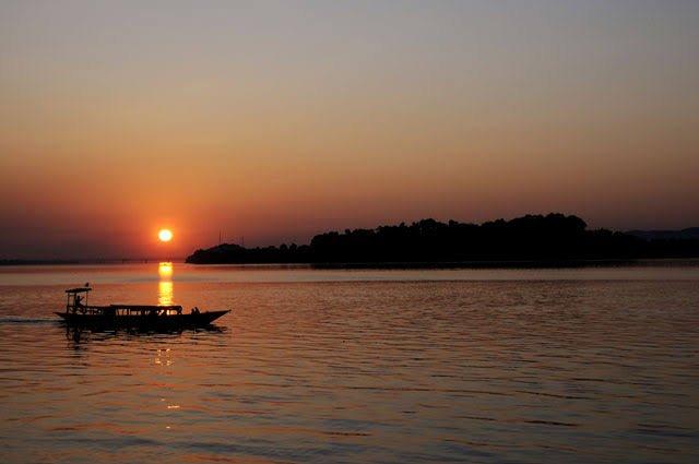 Sunset at Brahmaputra river